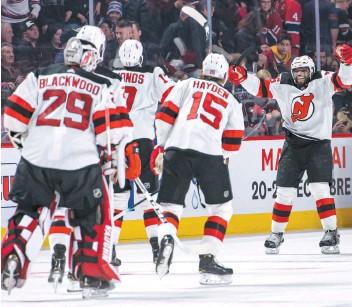 ?? – PHOTO AGENCEQMI ?? P.K. Subban et les Devils ont défait le Canadien en prolongation samedi soir.