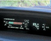 ??  ?? Here's where we're at after 1000km: we've saved 19 litres of petrol by using electricity. You're welcome.