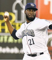 ?? APRIL GAMIZ/ THE MORNING CALL ?? IronPigs righthander Enyel De Los Santos is one of the pitchers the Phillies are banking on to be successful.