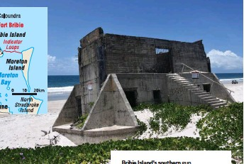 ??  ?? Bribie Island's southern gun emplacemen­t falls victim to a new foe as beach erosion undermines its position on shifting dunes (above). Two gunners (left) keep vigil at Fort Bribie in 1943.