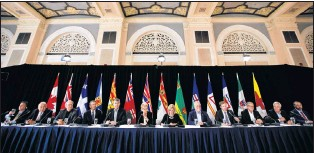 ?? CP PHOTO ?? Canada's premiers give a final press conference during the Council of Federation meetings in Edmonton, Alta., on Wednesday.