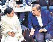 ?? MINT ?? West Bengal CM Mamata Banerjee with RIL CMD Mukesh Ambani in West Bengal on Tuesday