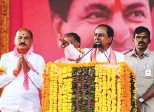?? PTI ?? TRS president and caretaker chief minister K. Chandrashekar Rao addresses a public meeting in Sangareddy yesterday.