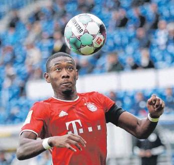 ?? FOTO: THOMAS FREY/IMAGO IMAGES ?? Alle Konzentration dem Ball – und Real Madrid? Noch-Bayer David Alaba.