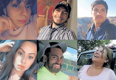 ?? Photo provided by Colorado Springs Police Department ?? The six people killed at a family birthday party were: top row, from the left, Sandra Ibarra-Perez, 28; Jose Ibarra, 26; Jose Gutierrez, 21; and bottom row, from the left, Mayra Ibarra De Perez, 33; Melvin Perez, 30; and Joana Cruz, 52. The suspect in the case is the boyfriend of Ibarra-Perez.