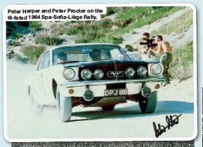 ??  ?? Peter Harper and Peter Procter on the ill-fated 1964 Spa-Sofia-LiègeRally.