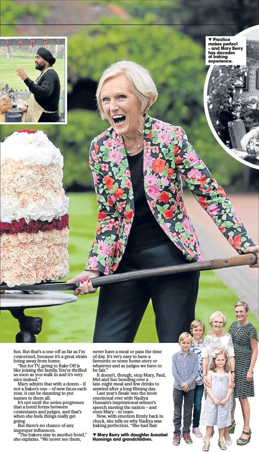 ??  ?? Mary Berry with daughter Annabel Hunnings and grandchildren.Practice makes perfect – and Mary Berry has decades of baking experience.