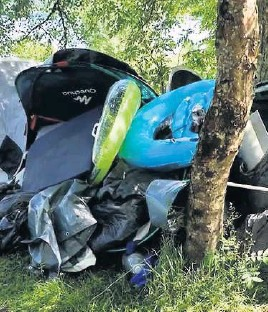??  ?? Blighted Camping and watersports gear dumped on the Foss Road, Loch Tummel. Pic by Lesley Shaw