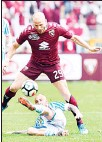 ??  ?? Torino's Lorenzo De Silvestri is chased by SPAL's Filippo Costa, on the ground, during the Serie A soccer match between Torino and SPAL at Turin's Olympic Stadium,Italy, on May 13. (AP)