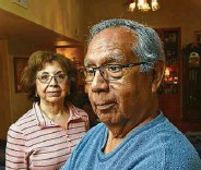 ?? Robin Jerstad / Contributor ?? Robert Renteria and his wife, Cynthia, both of whom had COVID-19, now are participating in a UT Health San Antonio study.