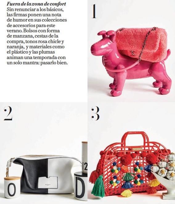 ??  ?? 1. 2. 3. Bolso de textura rizada y asa de cadena, de Chanel (2.500 €); y perro de resina, de The Interiorlist (75 €). Bolso de piel, de Givenchy (1.490 €); y tarros de porcelana fina con tapa de madera, todos de Design Letters (desde 15,50 €, en Despacio). Bolso de plástico con borlas y madroños, de Dolce & Gabbana; y escultura de cerámica, de Barataria.