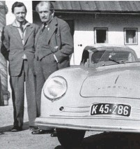 ??  ?? Above left: In another angle of the late-summer 1948 photo shoot in the Gmünd residential area Ferry's faithful VW cabriolet is visible in the background. This time Komenda is just out of shot