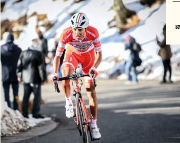??  ?? Barely 20, Bernal took a consistent 16th place in the 2017 edition of Tirreno-Adriatico, riding for Androni