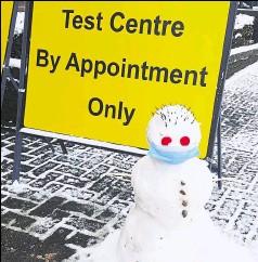 ??  ?? A Covid test centre snowman at Eurogate