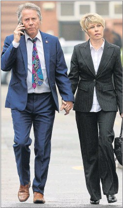 ??  ?? Tony and Julie Wadsworth arrive at court yesterday holding hands