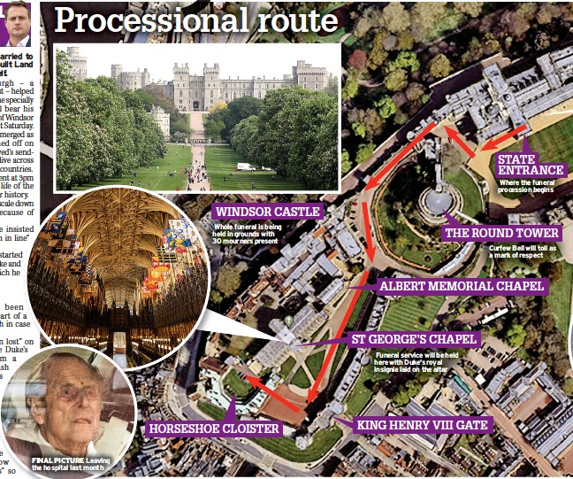 ??  ?? WINDSOR CASTLE Whole funeral is being held in grounds with 30 mourners present HORSESHOE CLOISTER ST GEORGE'S CHAPEL Funeral service will be held here with Duke's royal insignia laid on the altar KING HENRY VIII GATE