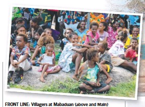 ??  ?? FRONT LINE: Villagers at Mabaduan ( (abovebove and Main) in the Torres Strait; Saibai Island chief Ron Enosa (inset left); slaves rescued from a rogue fishing vessel (right); Border Force officer David Rankine (right centre); and PNG villagers prepare...