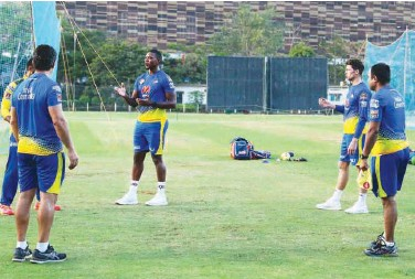 ?? Courtesy: CSK website ?? ↑ Chennai Super Kings' players attend a training session ahead of their IPL match against Rajasthan Royals.