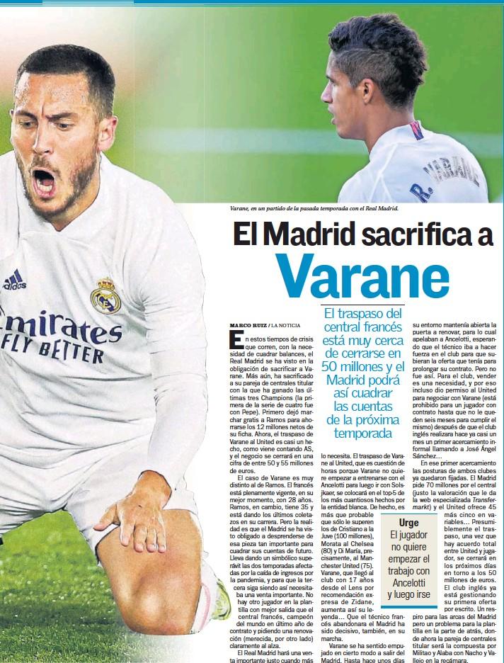 ??  ?? Varane, en un partido de la pasada temporada con el Real Madrid.