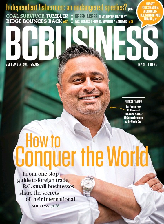 ??  ?? GLOBAL PLAYER Raj Bhangu took BC Chamber of Commerce member Airg's mobile games to the Middle East
