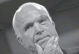 """?? JUSTIN SULLIVAN/GETTY IMAGES ?? Sen. John McCain of Arizona looks on during a July 2017 news conference to announce opposition to the """"skinny repeal"""" of the Affordable Care Act. McCain's decision to stop brain-cancer treatment isn't uncommon for such an aggressive form of cancer, an expert says."""