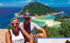 ??  ?? ALAN Pope bersama isterinya, Sharon bergambar ketika melancong di Indonesia. - Agensi