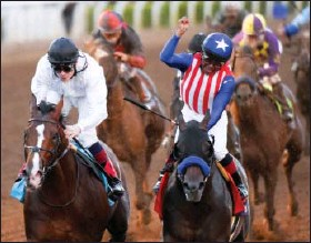 ?? MARK J. TERILL — THE ASSOCIATED PRESS ?? Jockey Martin Garcia celebrates after riding Bayern, right, to victory in the Breeders' Cup Classic at Santa Anita Park on Saturday.