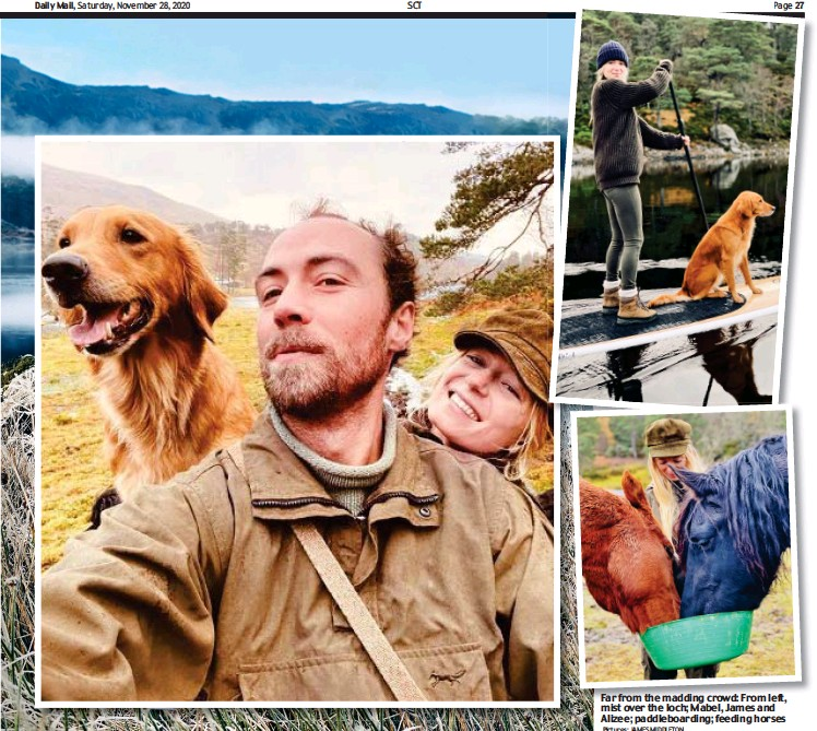 ?? Pictures: JAMES MIDDLETON ?? Still waters: Alizee takes Mabel for a paddle Far from the madding crowd: From left, mist over the loch; Mabel, James and Alizee; paddleboarding; feeding horses