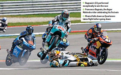 ??  ?? Bagnaia's (21) performed exceptinally to win the race Francesco Bagnaia, the Aspar Mahindra rider celebrating his first win Khairul falls down as Quartararo takes flight before going down