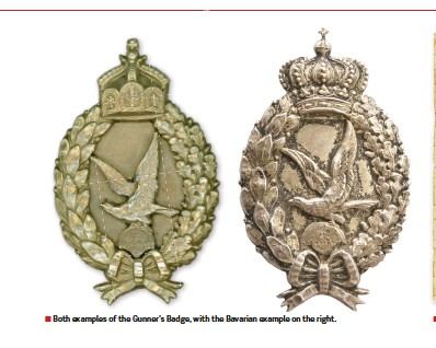 ??  ?? ■ Both examples of the Gunner's Badge, with the Bavarian example on the right.