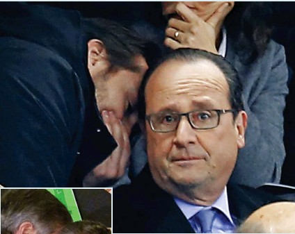 ??  ?? Friday: Mr Hollande's bodyguard tells him about the attacks