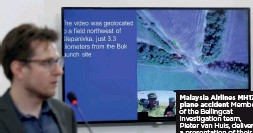??  ?? Malaysia Airlines MH17 plane accident Member of the Bellingcat investigation team, Pieter van Huis, delivers a presentation of their findings, Ukraine, 2019
