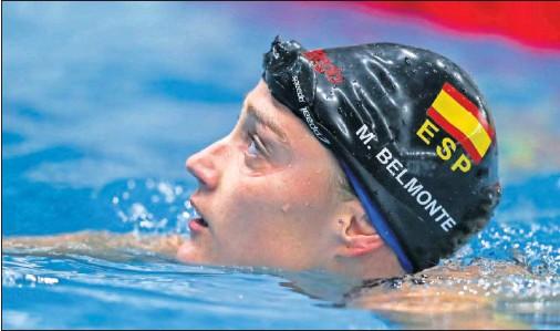 ??  ?? Mireia Belmonte, después de nadar una prueba en el pasado Mundial de Gwangju, en Corea del Sur.
