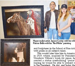"??  ?? Jayson Cortez's paint­ing ""Day Dream­ing"" Hy­per re­al­ist artist Jayson Cortez with his wife Pa­trice Belle with his ""Red Rider"" paint­ing"