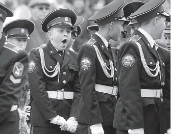 ?? — AFP ?? Russian cadets of the Suvorov military school attend a ceremony to mark the start of the academic year in Russia and many countries of the former Soviet Union in Saint Petersburg, Russia, on Monday.