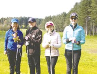 ??  ?? Above: The Fifty Shades 10th 1 team before they teed off Left: The Me2 Club benefited from the Rotary golf day