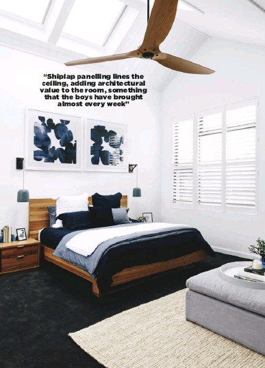 """??  ?? """"Shiplap panelling lines the ceiling, adding architectural value to the room, something that the boys have brought almost every week"""""""