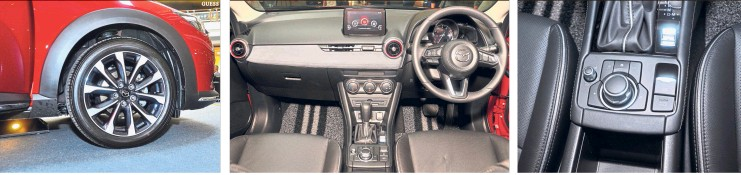 ??  ?? New alloy wheel design adds to the CX-3's sporty zing. Restyled dashboard comes with suede trimmings. Electronic parking brake increases the upmarket feel.
