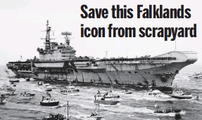 ??  ?? Welcome home: HMS Hermes steaming into Portsmouth in 1982