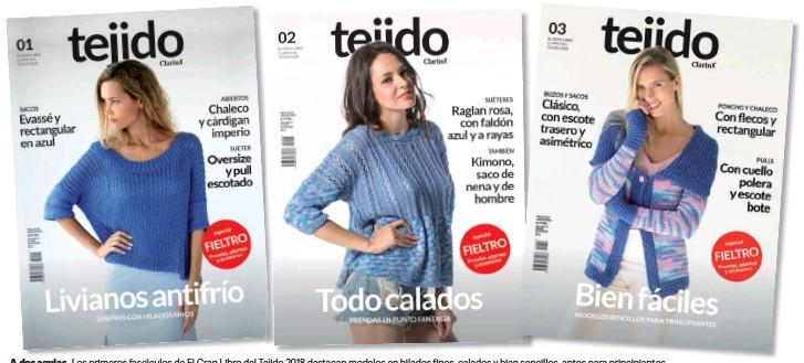 Los primeros fascículos de El Gran Libro del Tejido 2018 destacan modelos  en hilados finos 673e2d0a4248