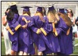 ?? Brian A. Pounds / Hearst Connecticut Media ?? Graduates take pictures after a socially distanced ceremony at Westhill High School last year.