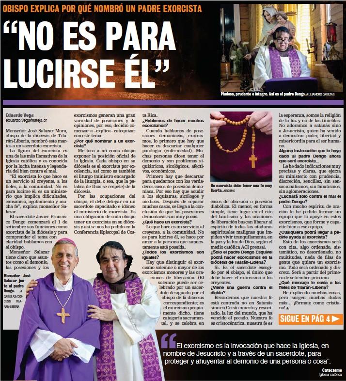 ?? CABEZAS/DIÓCESIS TILARÁN-LIBERIA ?? Monseñor José Salazar junto al padre Dengo. A.