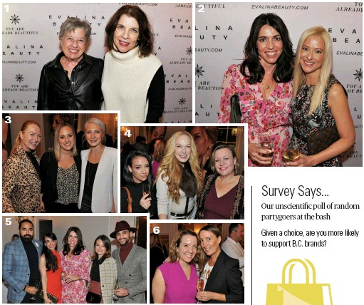 ??  ?? 1. Barbara Wolfson, VP, Holt Renfrew Vancouver; and Carla Stef, senior marketing and communications manager, Holt Renfrew Vancouver 2. Samantha Legge, founder, Evalina Beauty, and president, Canada Wide Media; and Janine Verreault, brand manager, Evalina Beauty, and editor-in-chief, Bcliving and Simply Beautiful Living 3. Anya Ellis, makeup artist, Liz Bell Agency; Kristalee Berger, interior design associate, Michael Green Architecture; and Dawn Melody, chief of staff, Michael Green Architecture 4. Sammy Tomita, makeup artist; Carmen Ruiz y Laza, host, Carmentv; and Marina Adshade, instructor, Vancouver School of Economics, UBC 5. Bikki Singh, fashion/lifestyle influencer and consultant, Surmesur; Laura Furtado, founder and owner, Divagirl; Samantha Legge; Ana Allen, former director, Evalina Beauty; and Kelvin Lopes, model and branch director, Surmesur 6. Anicka Quin, editorial director, Western Living and Vancouver magazines; and Sarah Bancroft, owner, Birch Block Vineyards • 1 2 3 4 5 6