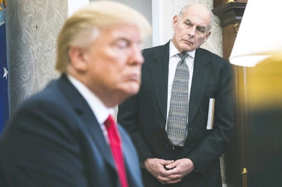 ?? JABIN BOTSFORD/THE WASHINGTON POST ?? President Trump and White House Chief of Staff John F. Kelly in the Oval Office at the White House in February. Strains developed in the relationship early in Kelly's tenure.