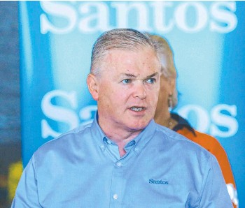 ?? Picture: Glenn Campbell ?? Santos CEO Kevin Gallagher in Darwin two weeks ago.