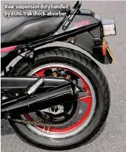 ??  ?? Rear suspension duty handled by a Uni-Trak shock-absorber