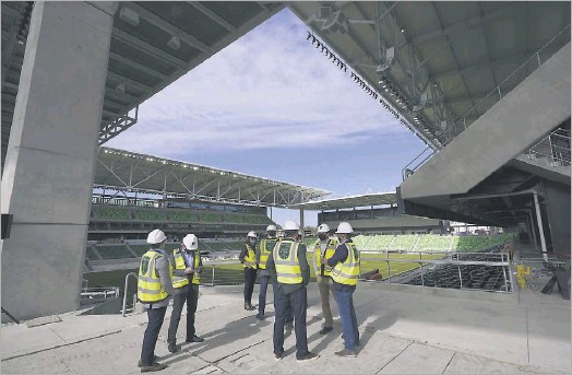 ?? Eric Gay/the Associated Press ?? Dignitaries gathered Jan. 25 for a ribbon-cutting at Q2 Stadium, which will house the expansion Austin FC. The $260 million facility and a team roster were built amid the global pandemic.