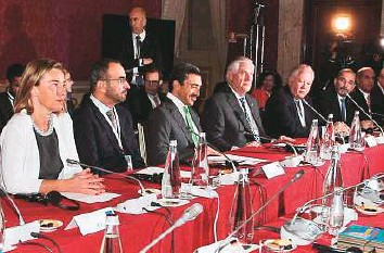 ?? AP ?? Shaikh Abdullah Bin Zayed Al Nahyan, UAE Minister of Foreign Affairs and International Cooperation, US Secretary of State Tillerson and other foreign ministers and their staff during a meeting of foreign ministers of the G7 in Lucca, Italy, yesterday.