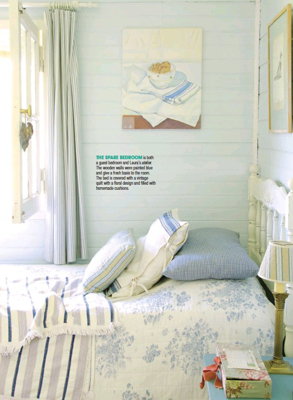 ??  ?? THE SPARE BED­ROOM is both a guest bed­room and Laura's ate­lier.