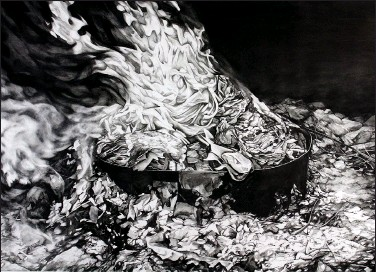 """?? University of Arkansas at Little Rock ?? Heidi Hogden's Resurgence, a liquid graphite and powdered graphite on paper work, hangs in the """"Building a Collection"""" exhibition at the Windgate Art + Design Center at the University of Arkansas at Little Rock."""